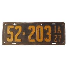 1927 Iowa license plate