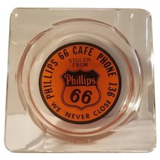 Phillips 66 advertising glass ashtray