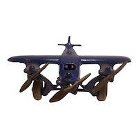 Arcade number 362 cast iron tri engine airplane