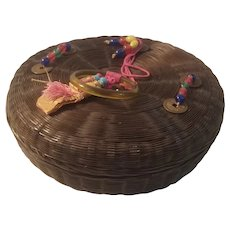 Wicker sewing basket