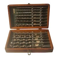 Vintage set of Irwin drill bits in original wood case