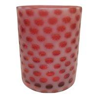 Cased cranberry glass castor insert