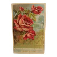 Congratulatory postcard with embossed roses