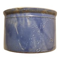 Small blue crock with interesting glaze