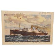 Holland-America Line S. S. Volendam postcard