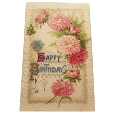 Happy Birthday postcard with embossed chrysanthemums