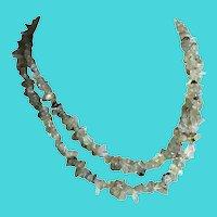 """Vintage Lime Green Quartz Chips 36"""" Long Gemstone Necklace"""