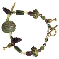 Vintage Venetian Art Glass Lamp work Beads Grapes Goblets & Jewish Star Bracelet
