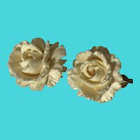 Vintage 1940's Art Deco White Carved 855 Silver Screw Back Flower Earrings