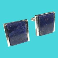 Vintage DANTE Modernist Silvertone & Blue Sodalite Stone Cufflinks
