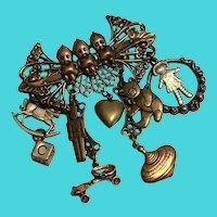 Vintage Ornate Multi-Metal Baby Themed Charm Brooch