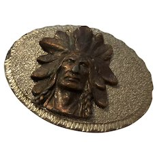 Vintage Two Tone Heavy Metal Indian Chief Belt Buckle - Marked CL & TN