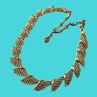 Vintage Gold Tone Feathered Wing Necklace - Signed CORO