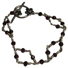 """7"""" Wire Wrapped Beaded Bracelet w/ Sterling Silver Floral Accent Toggle Clasp"""
