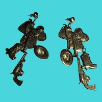 Vintage Long Tooled Metal Dangle Cowboy Western Themed Earrings