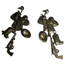 Vintage Long Tooled Metal Dangle Cowboy Western Themed Earrings