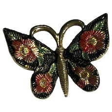 Small Gold Tone Painted Etched Metal Detailed Butterfly Brooch / Pin