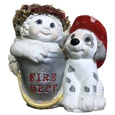 "1998 Dreamsicles #10521 ""Fire Drill"" Cherubic Ceramic Angle & Dalmatian Puppy"