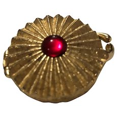Vintage Houbigant Gold Tone Small Compact with Red Glass Cabochon