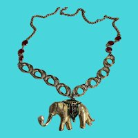 """Vintage MONET Gold Tone Circus Elephant Pin Turned into a 28"""" Chain Necklace"""