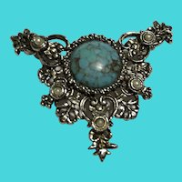 Vintage Sarah Coventry Faux Turquoise Brooch