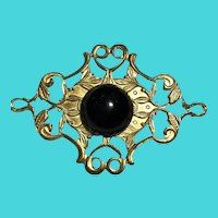 Vintage Gold Tone Ornate Brooch with Black Cabochon