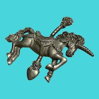 Vintage Spoon Pewter Carousel Unicorn / Horse Brooch