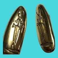 Vintage Gold Tone Southwest Petroglyph Clip On Earrings