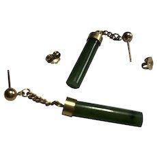 Vintage Gold Tone & Natural Jade Drop Pierced Earrings