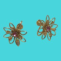 Vintage Delicate Gold Tone Golden Flower Screw Back Earrings