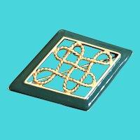 Vintage MONET Gold Tone w/ Green Enamel Diamond Shaped Brooch