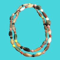 "Vintage 44"" Long Heavy Multi-Color Jade Bead Necklace"