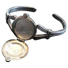 Vintage Art Deco Solid Sterling Silver Monogrammed Locket Cuff Bracelet
