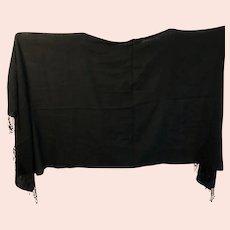 "Vintage PASHMINA Scarf / Shawl - 28"" x 70"" Solid Black Fine Cashmere w/ Fringe"