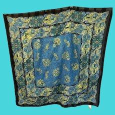 Vintage Berkshire Lightweight Square Black, Blue, Green Floral Fashion Scarf