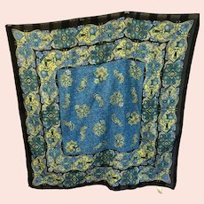 Vintage Berkshire Lightweight Square Black, Blue, Green Floral Fashion Scarf