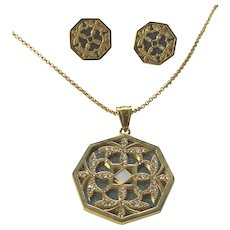 "Demi Parure Necklace & Earrings Set - 28"" Gold Tone Chain w/ Rhinestone Pendant"