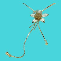 Vintage Gold Tone Adjustable Length Mesh Flower Lariat Bolo Tie Style Necklace