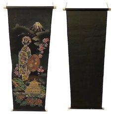 Asian Japanese Okinawan Painted Geisha on Velvet Hanging Scroll Wall Art / Decor
