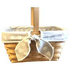 LONGABERGER 1999 Retired Sage Leaves Lined Woven Basket
