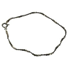 """Vintage 7.25"""" .925 Sterling Silver Chain Bracelet - Signed HCT Italy"""