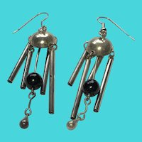 Beautiful Vintage Silver Tone Windchime Chandelier Dangly Earrings