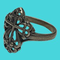 Vintage Size 7.25 .925 Sterling Silver Celtic Cross Ring