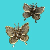 MONET Set of 2 Gold Tone Butterfly Wire & Rhinestone Brooches / Pins