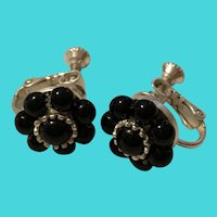 Vintage Napier Small Black Beaded Flower Screw On Earrings