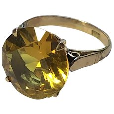 Vintage Size 3.5 10K Yellow Gold & Yellow Sapphire Small Ring / Pinkie Ring