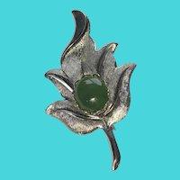Vintage Silver Tone Leaf Brooch with Green Jade Cabochon Stone