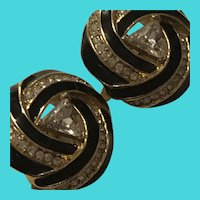 Trifari Gold & Black Enamel & Rhinestone Clip On Earrings