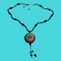 Vintage Chinese Carved Black Jade Amulet & Black Glass Bead Necklace
