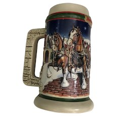 Budweiser Holiday Stein 1998 Grant's Farm Holiday CS343 Anheuser-Busch Collectible